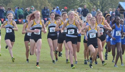Southern Miss' team at the start of the C-USA championship 5K.
