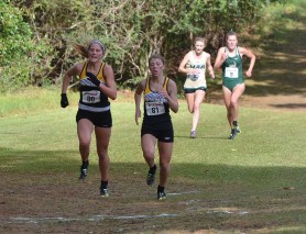 Teammates Kate Mattox and Regen McGee battle between 11th and 12th place/